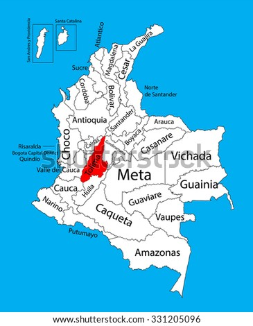 Vector map of region of Tolima, Colombia editable vector map. Administrative divisions of Colombia editable map. - stock vector