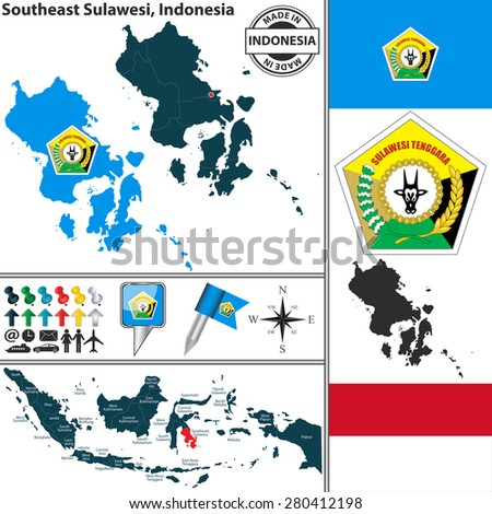 Vector Map Region Southeast Sulawesi Coat Stock Vector 280412198