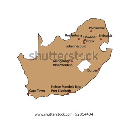 vector map of south africa with towns - stock vector