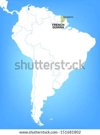 Vector Map of South America Highlighting the Country of French Guiana; Illustrator 8