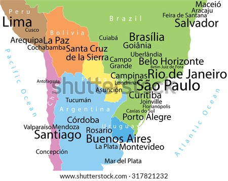 Vector map of South America with largest cities. Carefully scaled text by city population. Geographically correct. - stock vector