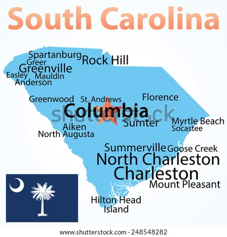 Vector map of South Carolina with largest cities. Carefully scaled text by city population.