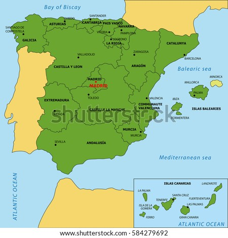 Vector Map Spain Regions Their Capitals Stock Vector - World map and their capitals