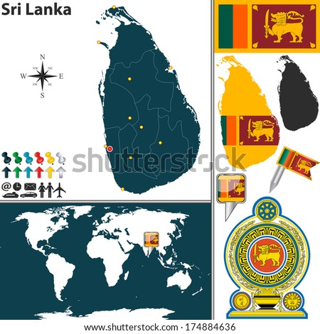 Vector map of Sri Lanka with regions, coat of arms and location on world map - stock vector