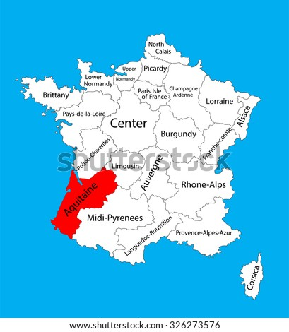 Vector map of state Aquitaine, France vector map. Aquitaine provence in France. - stock vector