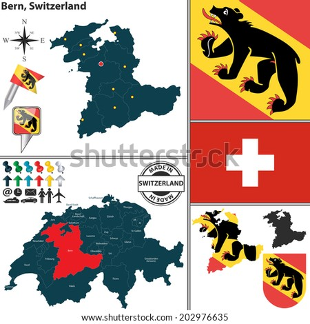 Vector Map State Bern Coat Arms Stock Vector HD Royalty Free