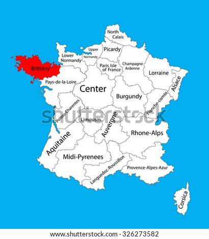 Vector map of state Brittany, location on France. France vector map. Bretagne vector map, provence in France.