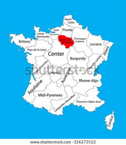Vector map of state Ile-de-France, location on France. France vector map.