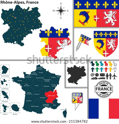Vector map of state Rhone-Alpes with coat of arms and location on France map - stock vector