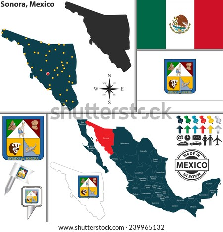 Vector map of state Sonora with coat of arms and location on Mexico map