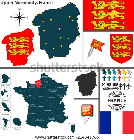 Vector map of state Upper Normandy with coat of arms and location on France map - stock vector
