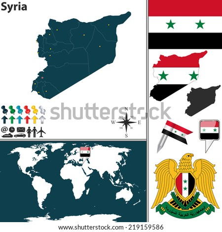 Vector map of Syria with regions, coat of arms and location on world map - stock vector