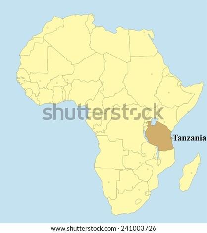 Vector map of Tanzania in Africa  - stock vector