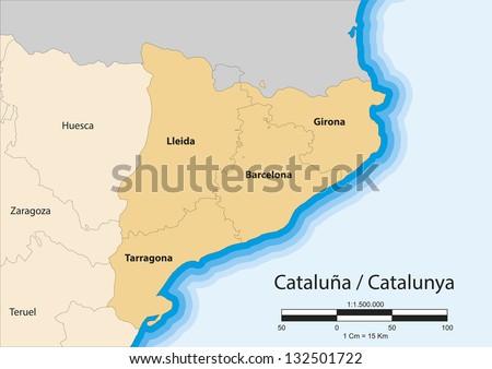 Vector map of the autonomous community of Catalonia (Cataluña/Catalunya). Spain. - stock vector