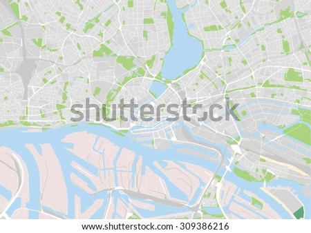 vector map of the city center of Hamburg, Germany - stock vector