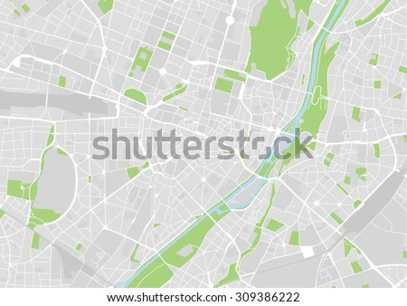vector map of the city center of Munich, Germany - stock vector