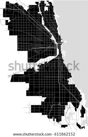 Vector Map City Chicago Usa Stock Vector 611862152 Shutterstock