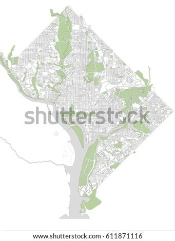 Vector Map City Washington Dc Usa Stock Vector 611871221