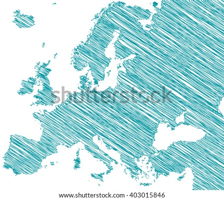 vector map of the Europe drawing in green marker on a white background. Sketch Europe map for infographics, brochures and presentations - stock vector