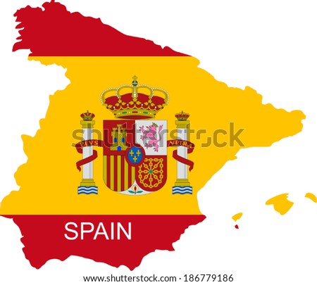 Vector map of the european country Spain - stock vector