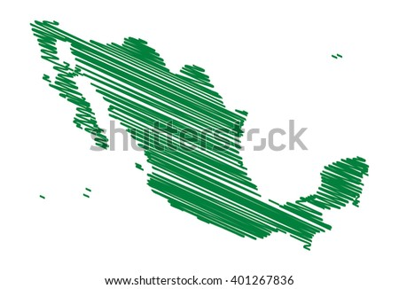 vector map of the Mexico drawing in green marker. sketch Mexico map for infographics, brochures and presentations - stock vector