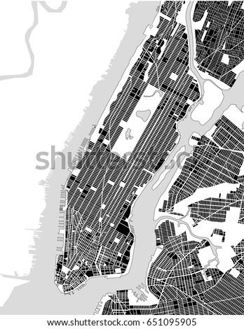 vector map of the new york city ny manhattan usa