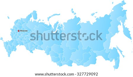 Vector map of the Russian Federation and Crimea - stock vector