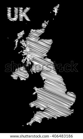 vector map of the United Kingdom colored white marker on a black background. sketch drawing UK map for infographics, brochures and presentations. - stock vector