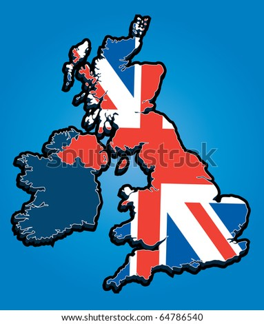Vector Map of the United Kingdom with Union Jack National Flag - stock vector