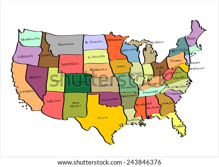 Vector Map of the United States  Hand drawn illustration sketch. - stock vector