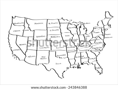 Vector Map United States Hand Drawn Stock Vector - Hand drawn us map vector