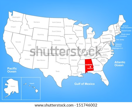 Vector Map of the United States Highlighting the State of Alabama; Illustrator 8 - stock vector