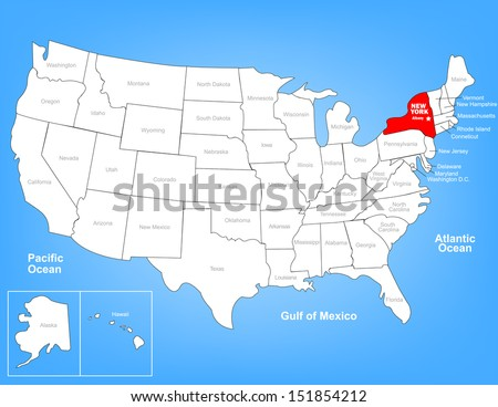 Vector Map of the United States Highlighting the State of New York; Illustrator 8 - stock vector