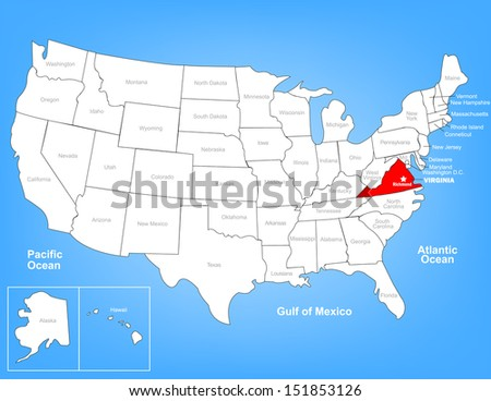Virginia Map Stock Images RoyaltyFree Images Vectors - Virginia state map united states