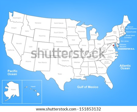 Vector Map of the United States Highlighting Washington D.C.; Illustrator 8 - stock vector