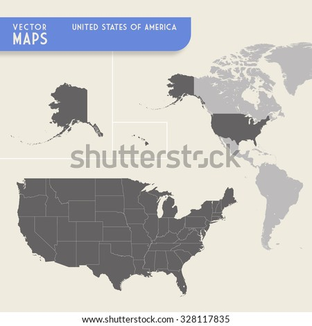 Vector Map United States America Minimap Stock Vector - Map of united states of america