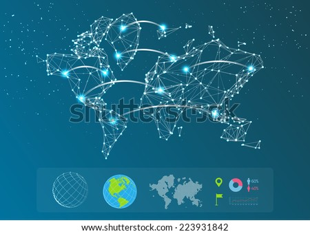Vector map of the world consisting of lines - stock vector