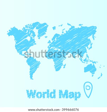 Vector map of the world drawing in blue marker. Sketch World Map for infographics, brochures and presentations. - stock vector