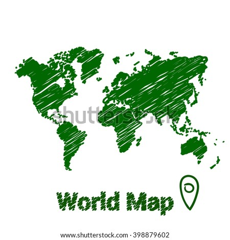 Vector map of the world drawing in green marker on a white background. Sketch World Map for infographics, brochures and presentations. - stock vector