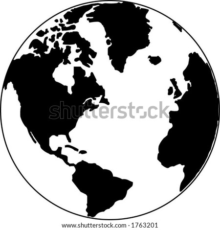 Vector map of the world on the globe - stock vector