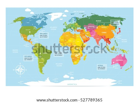 Vector map world countries america eurasia vectores en stock vector map of the world with countries america eurasia australia africa gumiabroncs Images