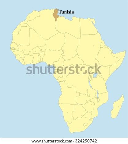 Vector map of Tunis in Africa   - stock vector
