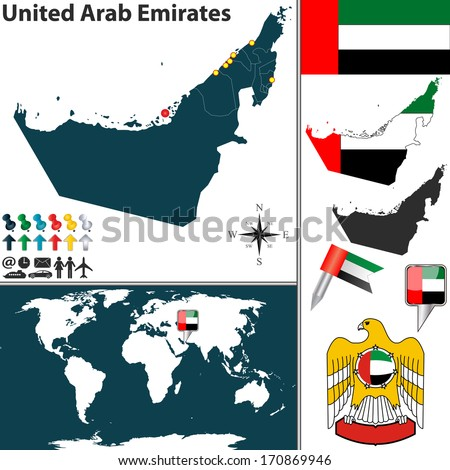 Vector map of United Arab Emirates with regions, coat of arms and location on world map - stock vector