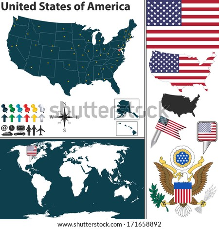 Vector map of United States of America with regions, coat of arms and location on world map - stock vector