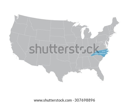 vector map of United States with indication of North Carolina - stock vector
