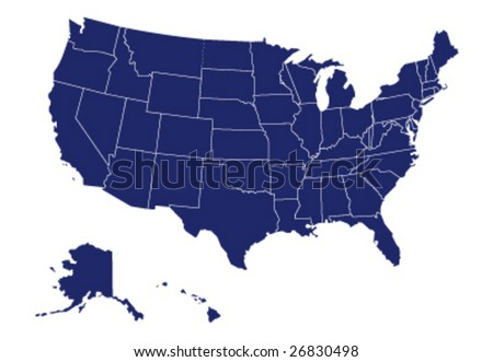 vector map of usa - stock vector