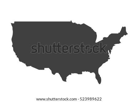 Vector Map Of Usa United States Of America Country Blank Similar Usa Map Isolated
