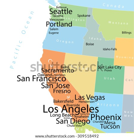 Vector map of USA West Coast with largest cities and metropolitan areas. Carefully scaled text by city population.  - stock vector
