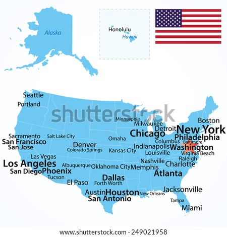 vector map of usa with largest cities carefully scaled text by city population