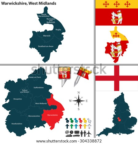 Vector map of Warwickshire in West Midlands, United Kingdom with regions and flags - stock vector